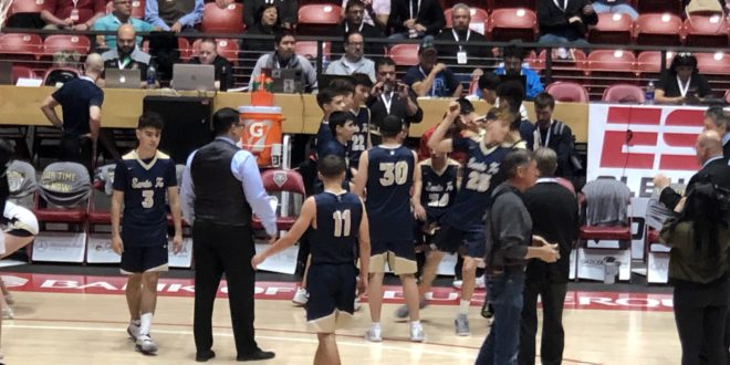 Santa Fe High's boys won for the third time in five starts against rival Capital Monday night to claim first place in District 5-5A after the playoff game at Santa Fe Indian School's Pueblo Pavilion